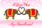 vector illustration of cute elephants forming heart shape