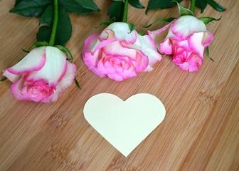 Rosen mit Papierherz und Textfreiraum
