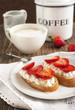 Fresh bread with Cottage cheese, strawberry and honey
