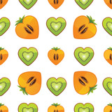 Seamless pattern of kiwi, persimmon in Heart