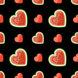 Watermelon and hearts on seamless pattern.Black background.