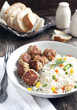 Meatballs and rice with  mixed vegetables
