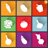 Flat design icons. Set of vegetables. Vector illustration.