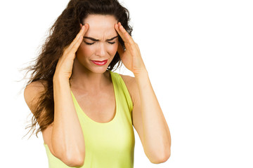 Woman suffering from bad headache