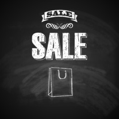 sale concept. vector illustration with chalkboard texture