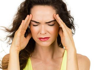 Close-up of woman with bad headache