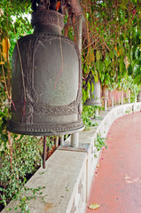 Old bells on the Golden mountain temple in Bangkok