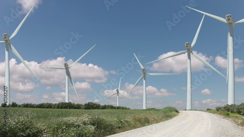 Wind farm and clouds. Timelapse