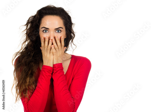 Scared shocked woman