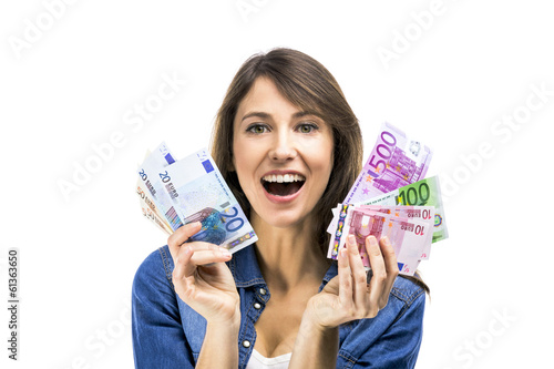 Beautiful woman holding some Euro currency notes