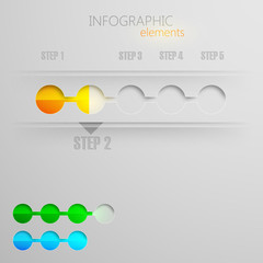 vector set of abstract 3d paper infographic elements for design.