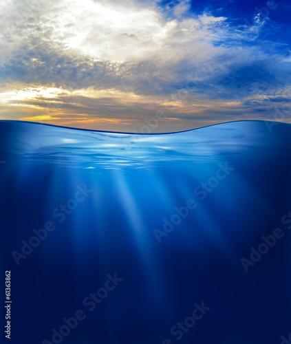 Fotobehang Koraalriffen sea or ocean underwater with sunset sky
