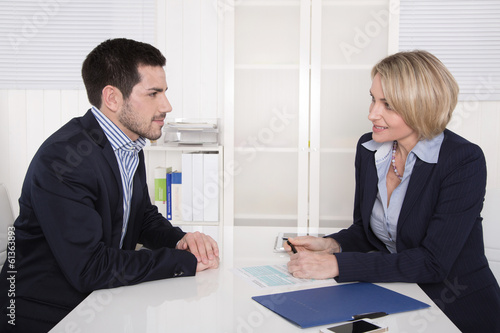 Leinwandbild Motiv Bewerbungsgespräch oder Vorstellungsgespräch Business