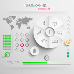 paper infographics with education signs for design