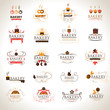 Bakery Icons Set - Isolated On Gray Background