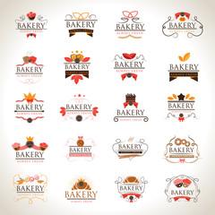 Bakery Icons Set - Isolated On Gray Background