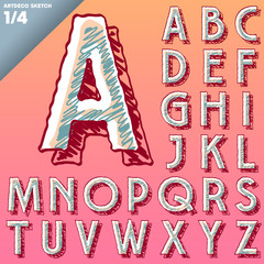 Sketch alphabet. Vector of hand drawing font. Art-deco style