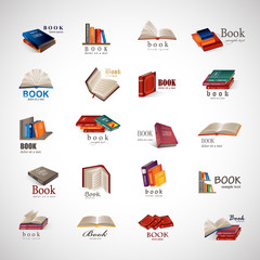 Book Icons Set - Isolated On Gray Background
