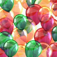 holiday background with flying multicolored balloons