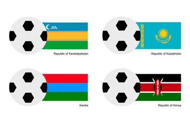 Soccer Ball with Karakalpakstan, Kazakhstan,  Kenya Flag