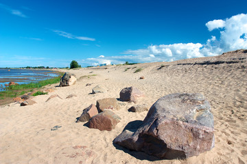 Sandy beach with rocks in Kalajoki