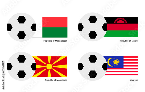 Soccer Ball with Madagascar, Malawi, Macedonia and Malaysia Flag