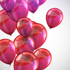 holiday background with flying red balloons