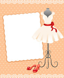 card with a mannequin, dress and shoes