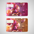set of shiny gift cards with flying balloons and sparkles
