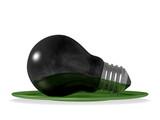Black light bulb in green saucer poster