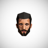 illustration with a male face in origami style