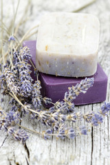 natural soap with dried lavender