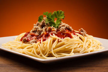 Pasta with meat, tomato sauce vegetables