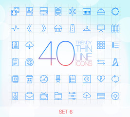 40 Trendy Thin Icons for web and mobile Set 6