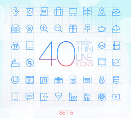 40 Trendy Thin Icons for web and mobile Set 5