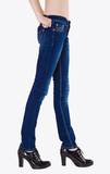 Shapely female legs dressed in dark blue jeans
