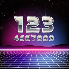80s Retro Sci-Fi Digits