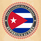 Vintage label cards of Cuba flag. Vector