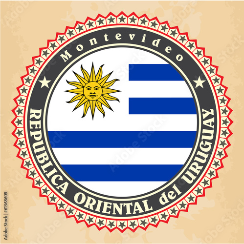 Vintage label cards of Uruguay flag. Vector
