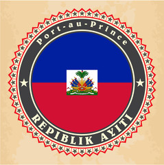 Vintage label cards of Haiti flag. Vector