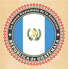 Vintage label cards of Guatemala flag. Vector