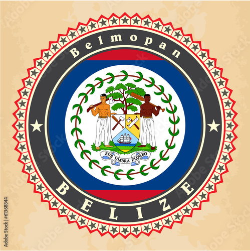 Vintage label cards of Belize flag. Vector
