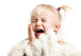 Little girl screaming over white background