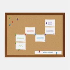 Vector corkboard timeline template. Creative timeline template i