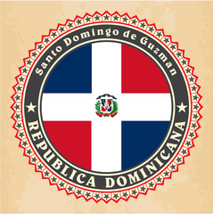 Vintage label cards of Dominican Republic flag. Vector
