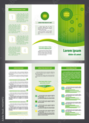Trifold green business eco brochure template