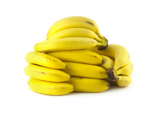 Bananas lies on white background isolated closeup