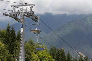cable way in the summer mountains