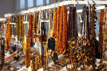 Beads other handcraft jewelry made of stone amber.