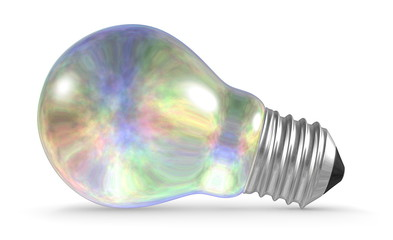 Pearl light bulb lying isolated on white